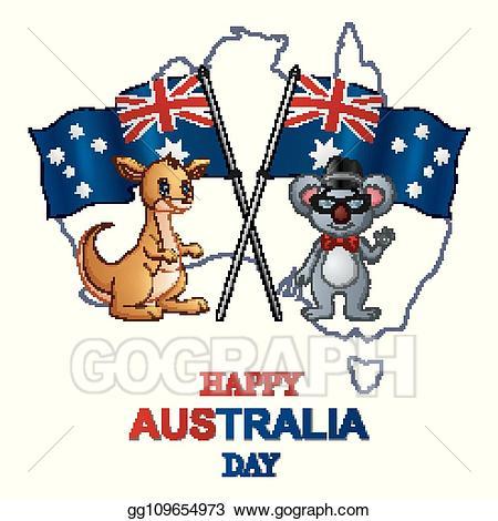 Australia clipart day. Vector happy with kangaroo