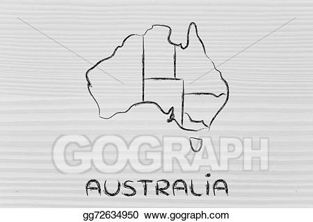 World map and continents. Australia clipart drawing