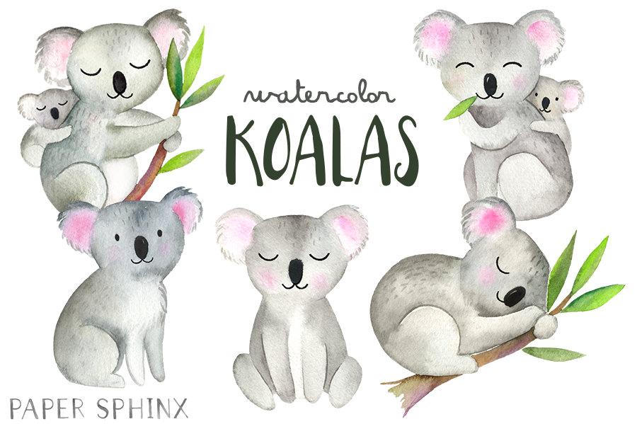 Australia clipart koala. Watercolor koalas bear family