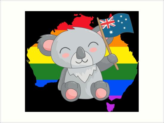 Lgbt rainbow pride art. Australia clipart koala