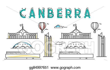 Australia clipart line. Vector stock canberra capital