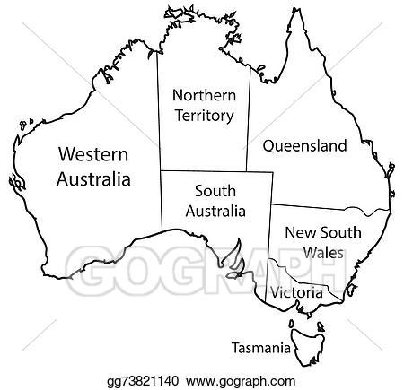 Vector illustration territories outline. Australia clipart line