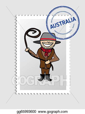 Vector cartoon postal stamp. Australia clipart person australian