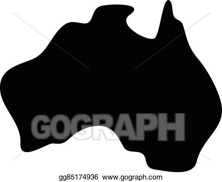 Australia clipart shape. Vector illustration map geography