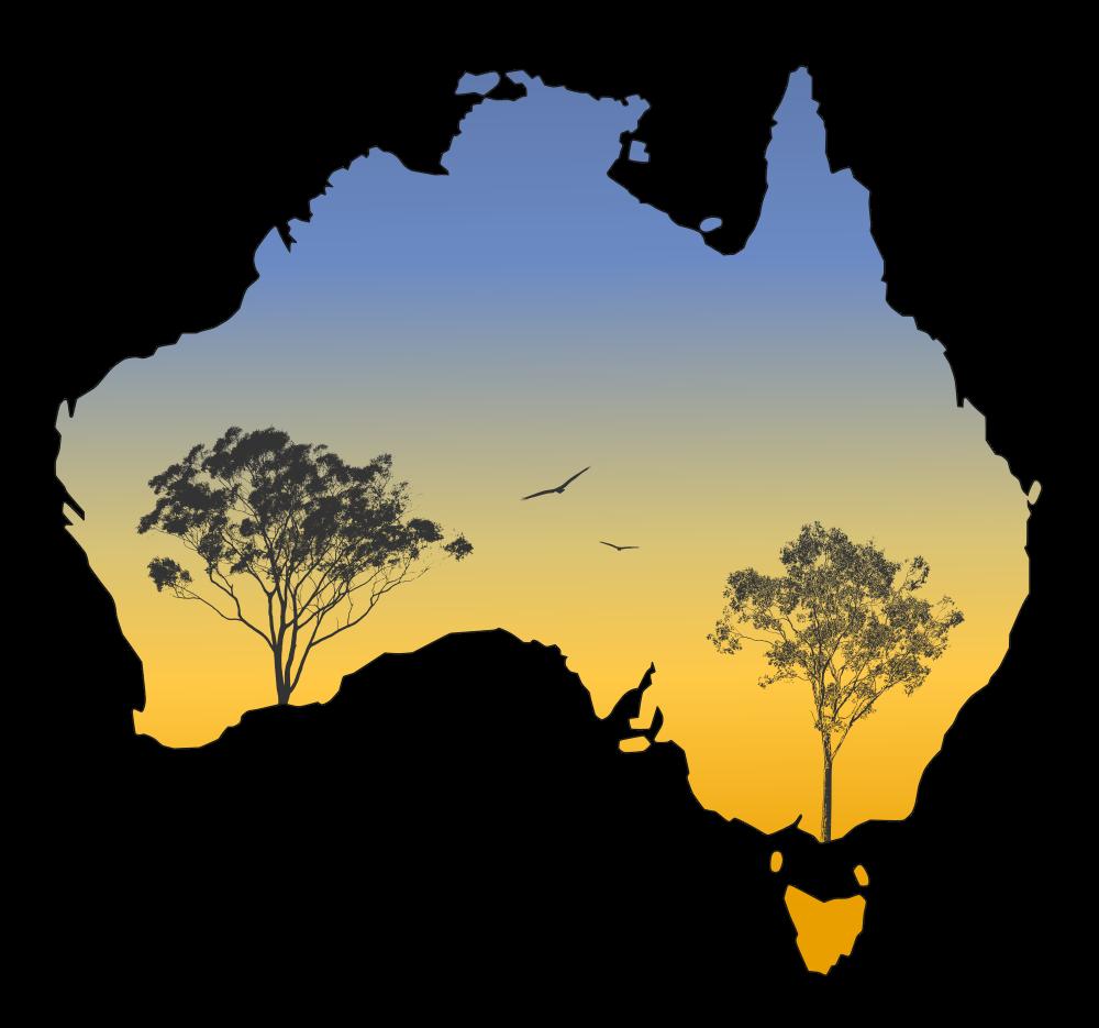 Landscape gum trees sunset. Australia clipart silhouette