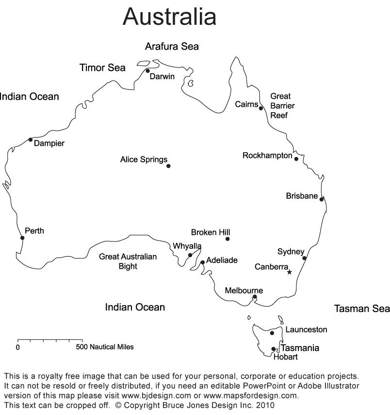 Printable blank maps outline. Australia clipart simple