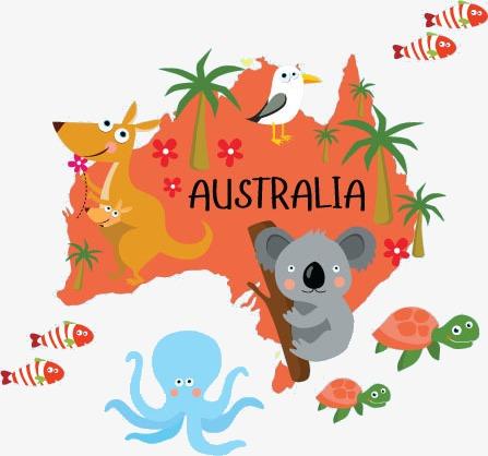 Australia clipart simple. Animals map cartoon web