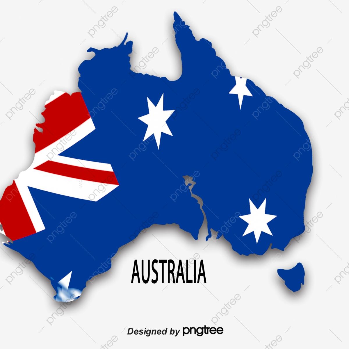 Australia clipart simple. A map of blue
