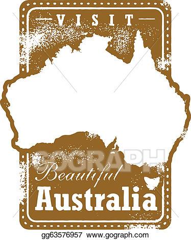 Australia clipart stamp. Vector art vintage travel