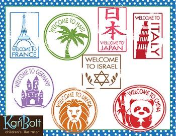 Passport stamps clip art. Australia clipart stamp