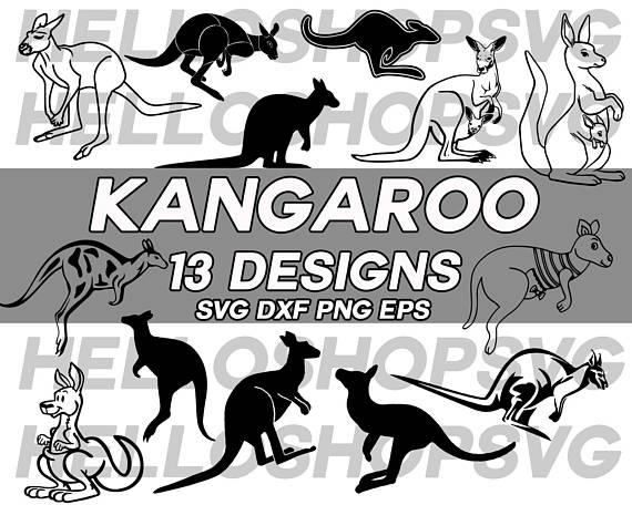 Australia clipart stencil. Kangaroo svg cute cartoon