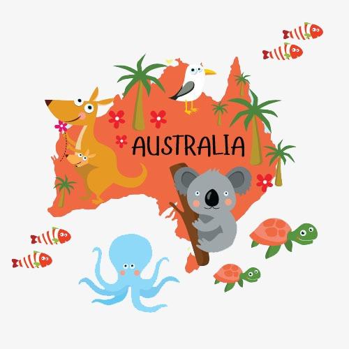 Map animal koala country. Australia clipart text