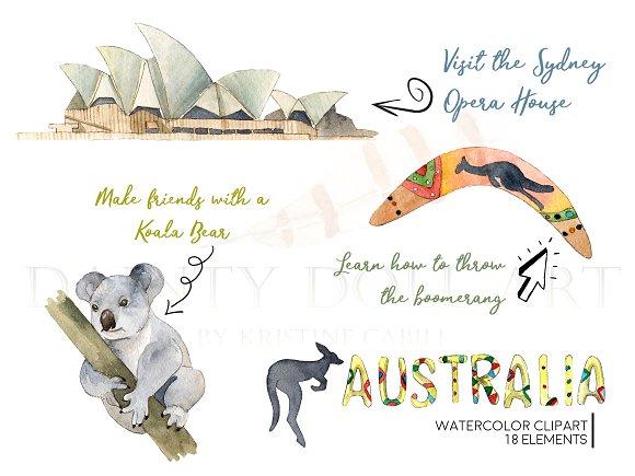 Watercolor travel illustrations creative. Australia clipart text
