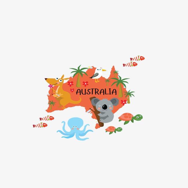 Australia clipart text. Animals map illustration cartoon