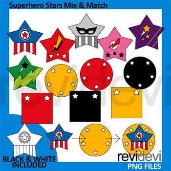 Author clipart. Superhero stars mix and
