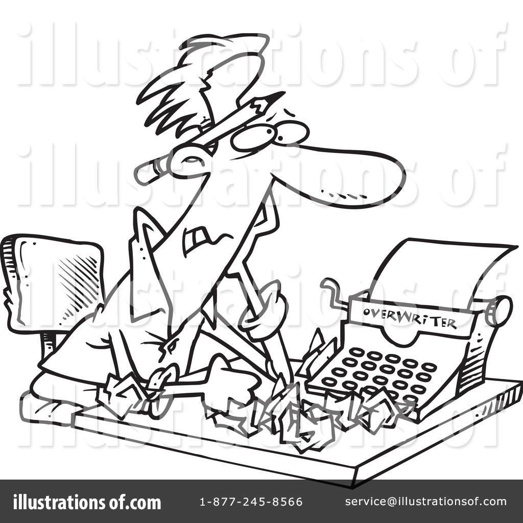 Author clipart black and white. Illustration by toonaday royaltyfree