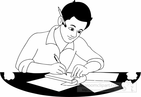 Writer clipart study. Free black and white