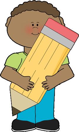 Pencil clip art kids. Author clipart boy
