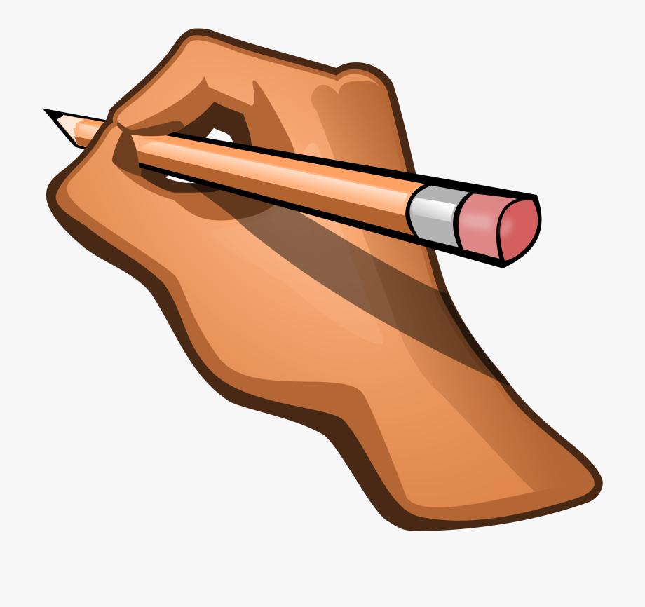 Author clipart cartoon. Pencil clip art hand