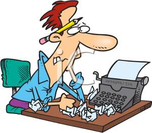 A frustrated with writer. Author clipart cartoon