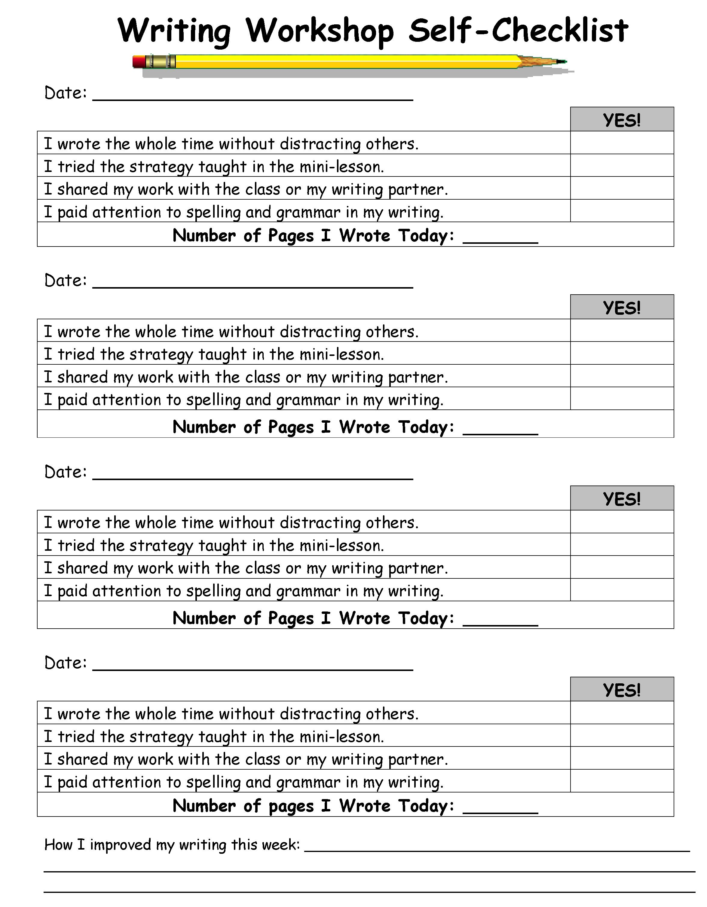 Writers workshop self assessment. Author clipart checklist student