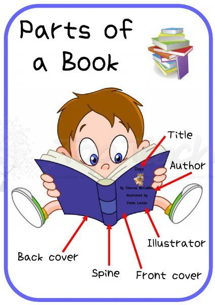 Parts of a book. Author clipart checklist student