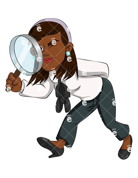 Author clipart copywriter. Black business woman magnifying