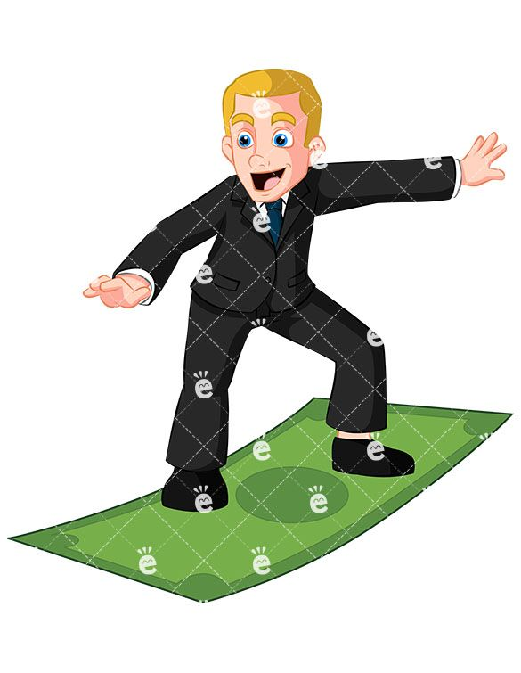 Author clipart copywriter. Business man surfing on