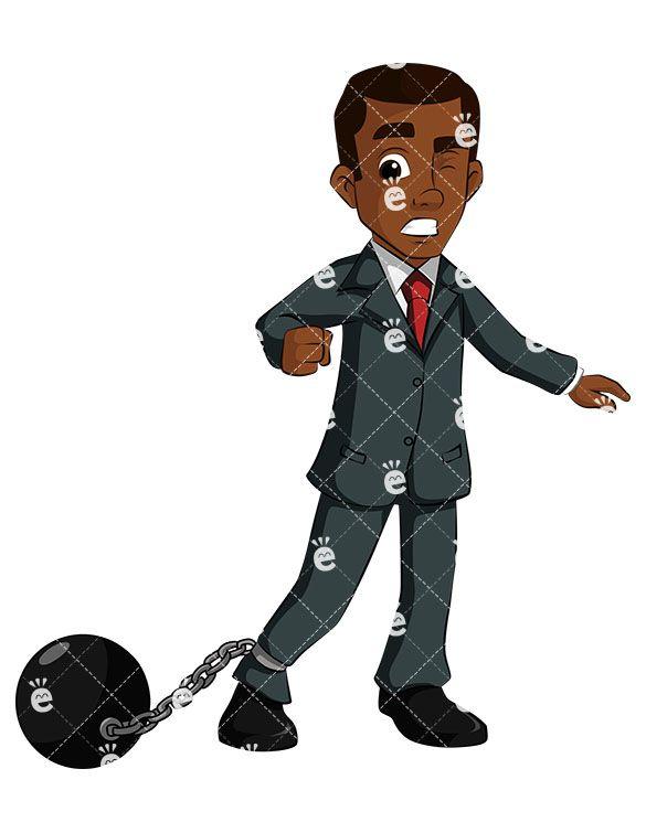 A discouraged black businessman. Author clipart copywriter