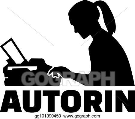 Writer clipart female author. Eps illustration silhouette job