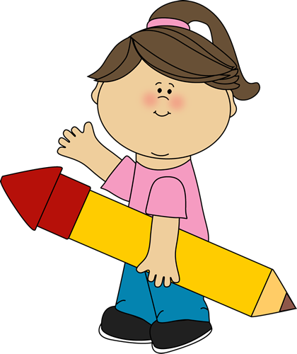 With pencil . Author clipart girl author