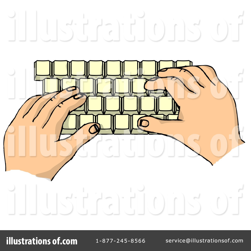 Typing illustration by djart. Author clipart keyboarding