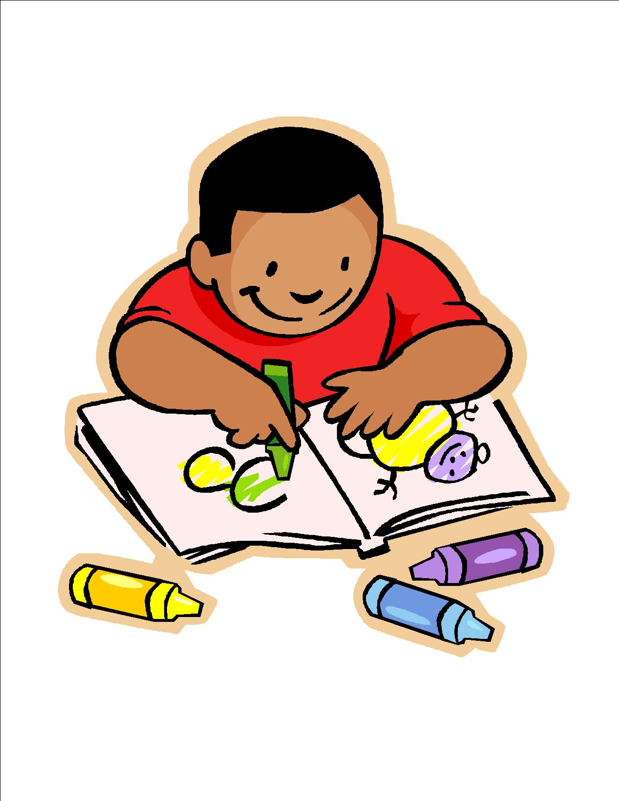 Free images of children. Writer clipart quietly
