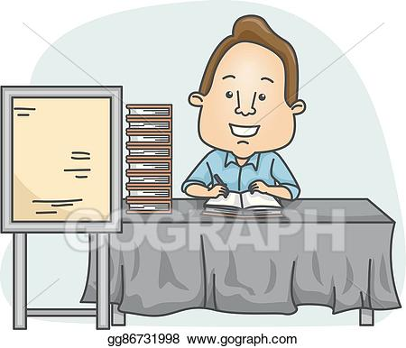 Vector art book signing. Author clipart man