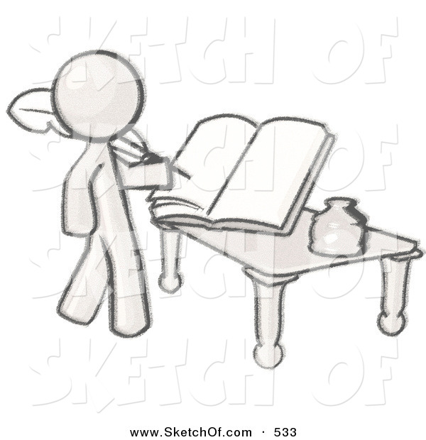 Drawing of a sketched. Author clipart man