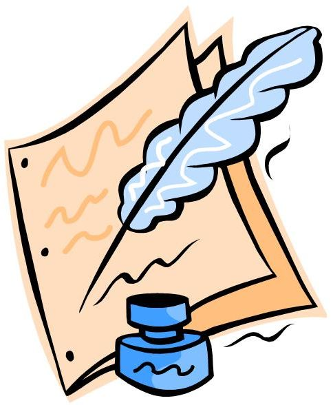 Quill pencil and in. Author clipart playwright
