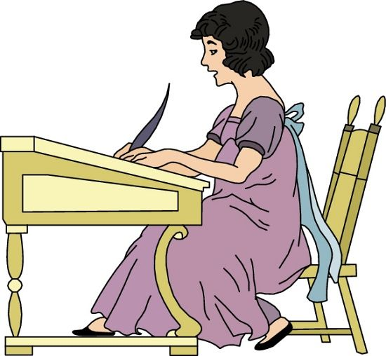 Poetry clipart female poet. Women reading and writing
