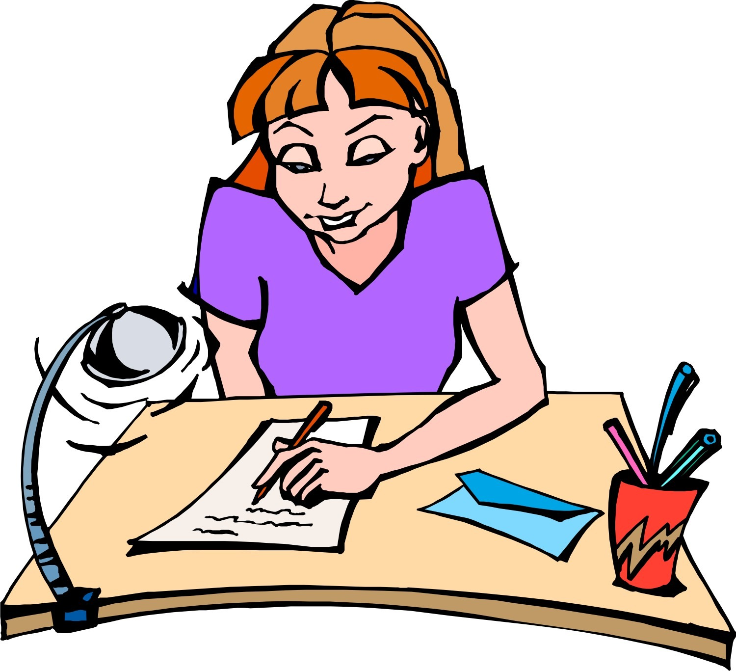Writing letters format profile. Writer clipart woman writer