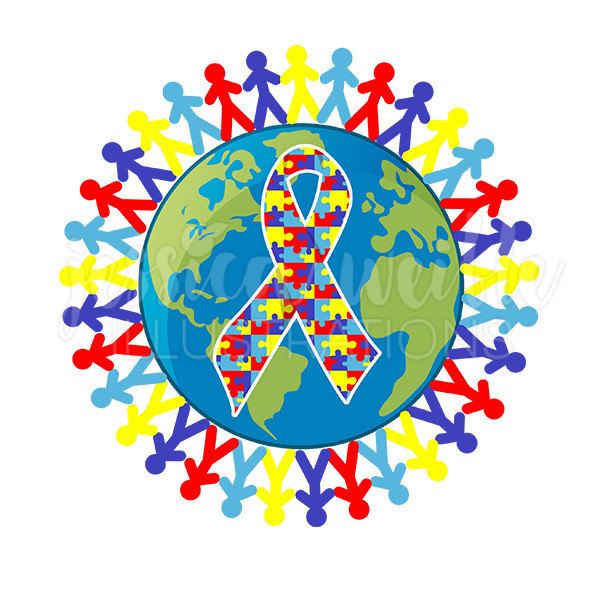 Autism clipart. Awareness earth cute digital