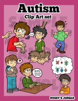 Autism clipart autism behavior. Behaviors clip art set