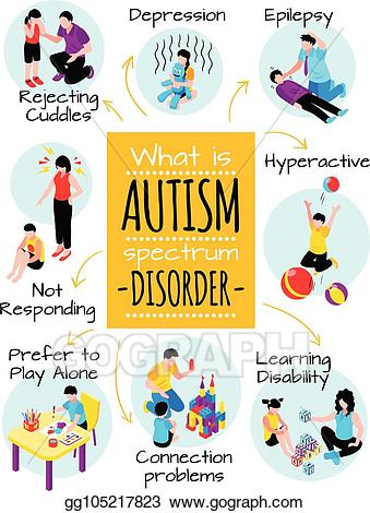 Autism clipart autism behavior. Clip art vector isometric