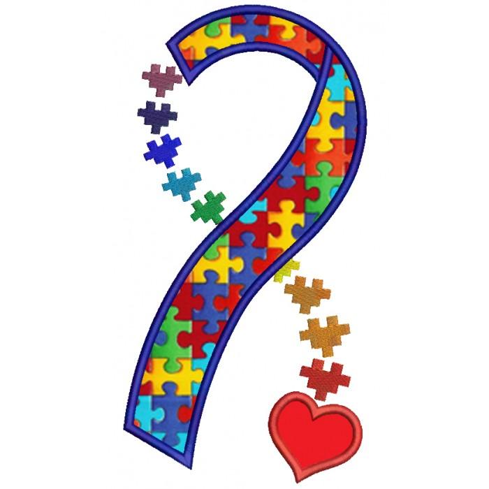 Autism clipart autism heart. Awareness ribbon applique machine