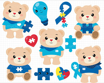 Bear etsy bears awareness. Autism clipart autistic boy