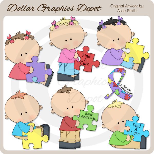collection of children. Autism clipart autistic child