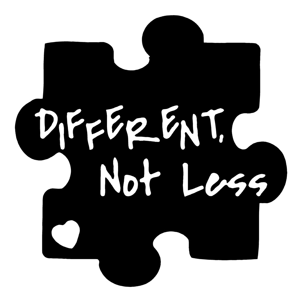 Autism clipart black and white. Different not less awareness