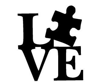 Autism clipart black and white. Puzzle piece vinyl etsy