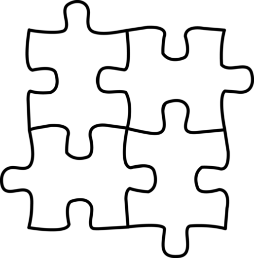collection of puzzle. Autism clipart black and white