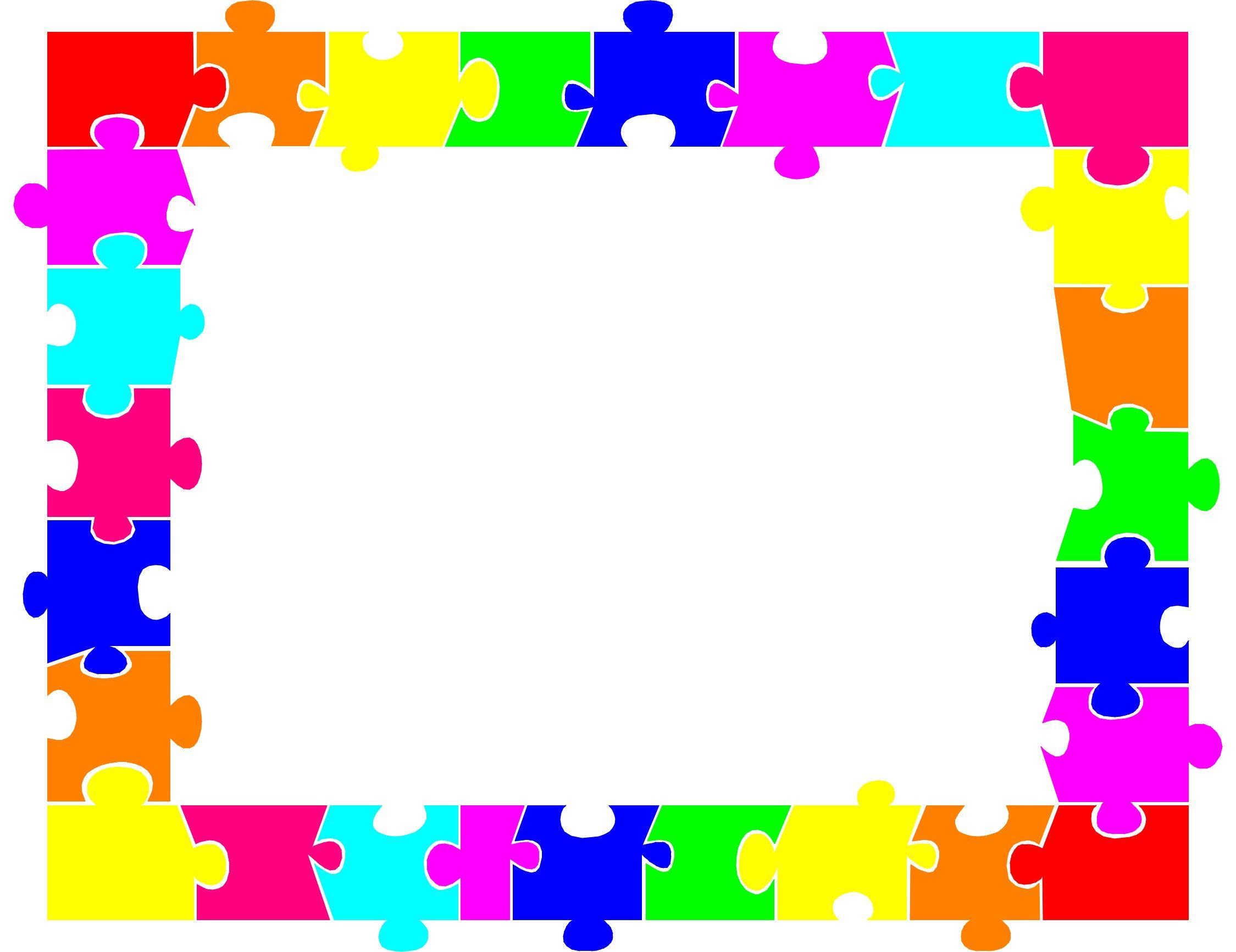 Autism piece clip art. Puzzle clipart border