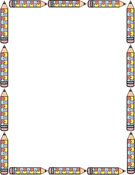 Autism clipart border. Awareness pencil package borders