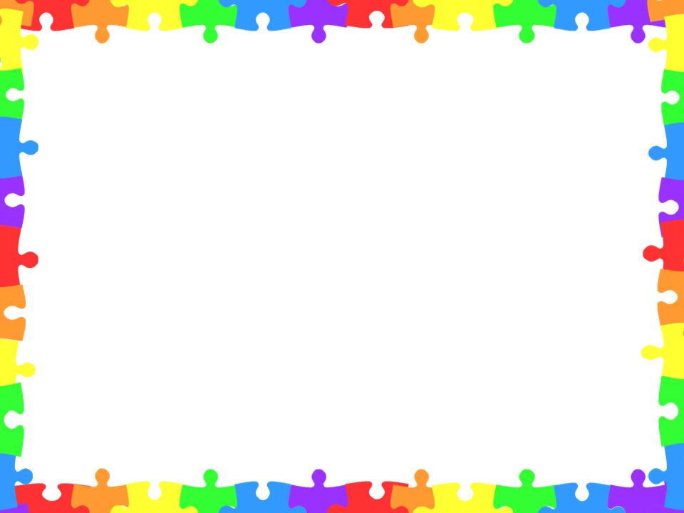 Puzzle digital paper and. Autism clipart border